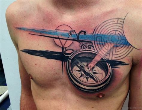 51 attractive compass design on chest