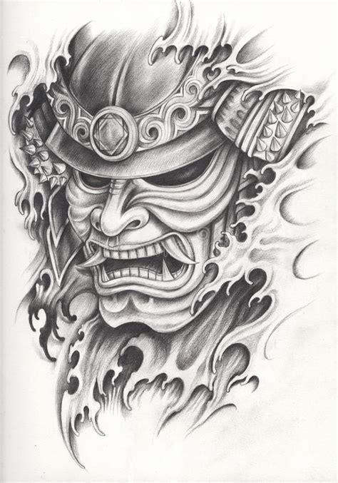 samurai warrior tattoo stock illustration illustration