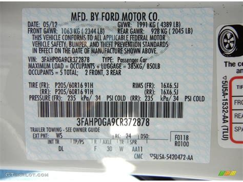 2012 fusion color code ws for white suede photo 66610008 gtcarlot