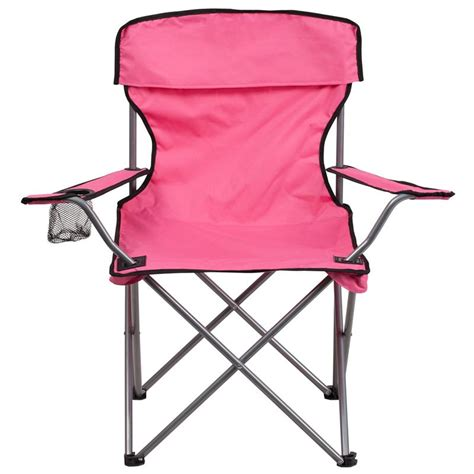 pink folding cing chair with drink holder abc office