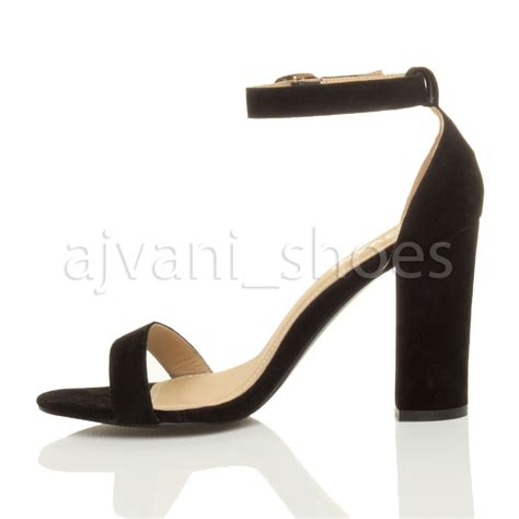 womens block high heel ankle peep toe strappy