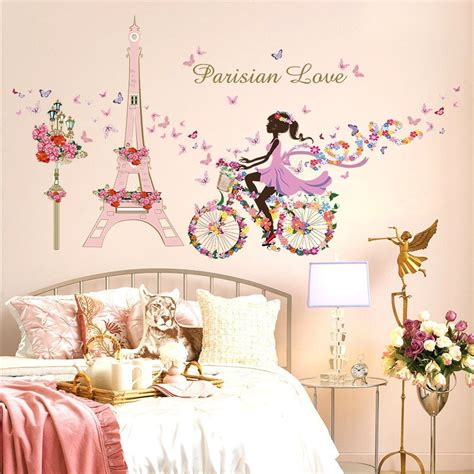 romantic paris wall sticker  kids rooms eiffel tower