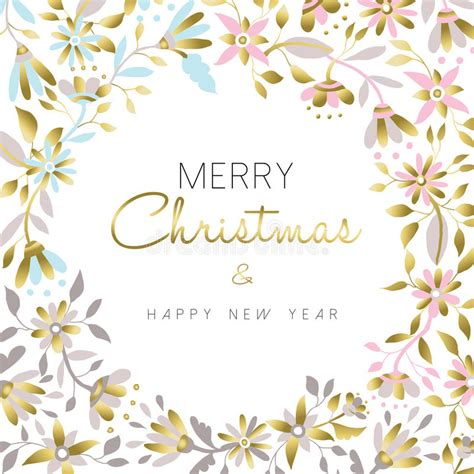 new year flower colors merry and new year gold floral design stock