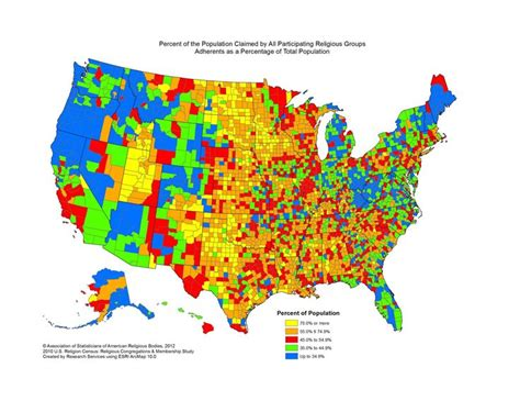 most populated state in usa map of the most and least religious counties in the united
