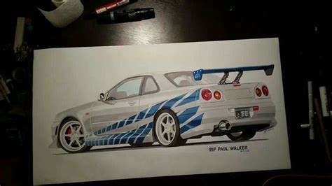 paul walkers nissan skyline drawing skyline rip paul walker car drawings pinterest rip