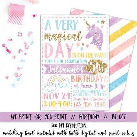 unicorn birthday invitation word template unicorn invitation rainbow invitation magical birthday