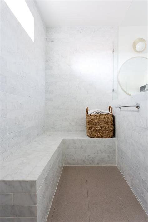 stone shower bench marble tiled shower bench under window transitional
