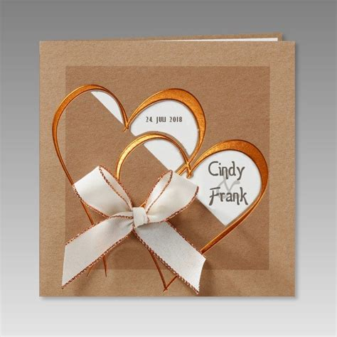 Hochzeitseinladung Ausgefallen by Hochwertige Hochzeitseinladung Mit Zwei Herzen In Kupferfolie