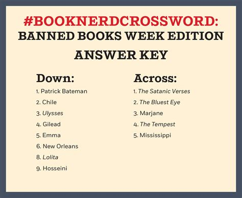 An American Crossword Puzzle Answers Banned Books Week Crossword Puzzle Answer Key Penguin Random House