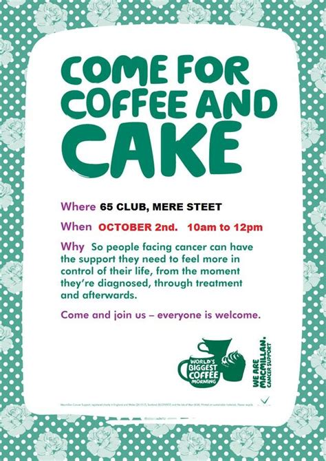 Coffee Cake October 2nd Everyone Welcome Haslington Coffee Morning Invitations Templates
