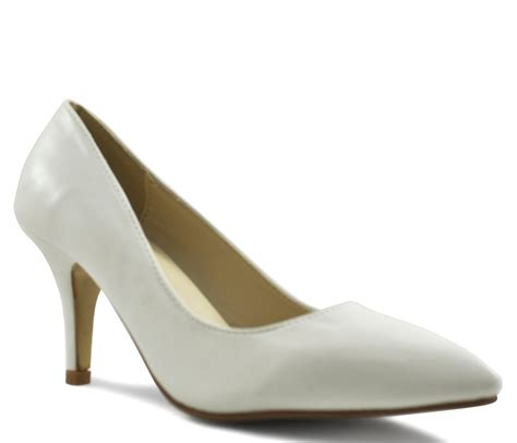 shoesdays white matt mid heel pointed court shoes
