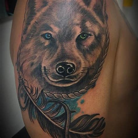 wolf feather tattoo designs 125 coolest wolf designs