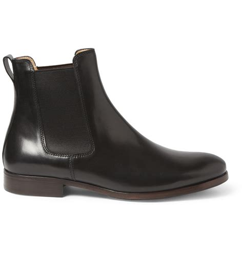 black leather chelsea boots a p c leather chelsea boots in black for lyst