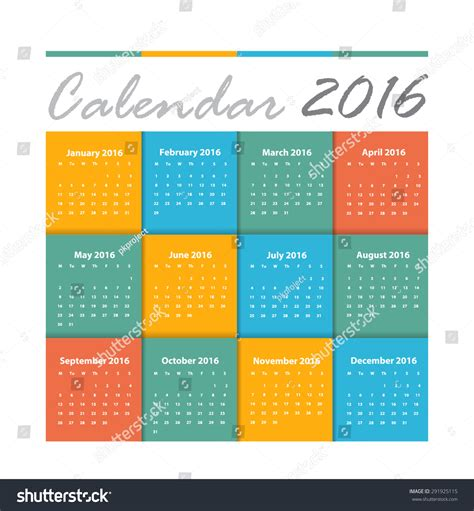 design vector calendar 2016 calendar 2016 vector earthtone design stock vector