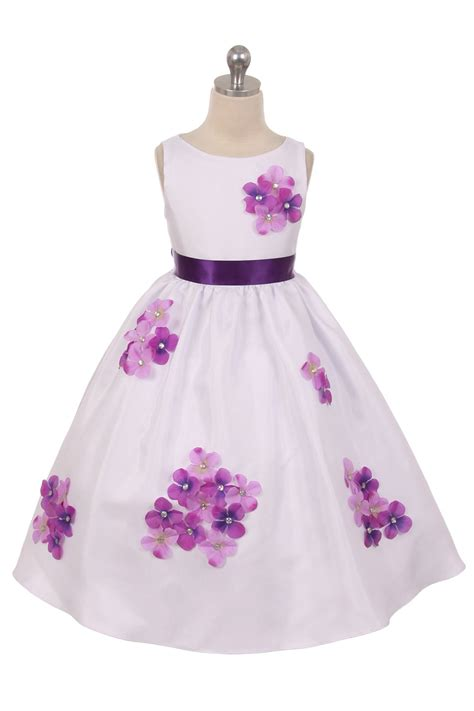 White Purple Dress purple plum flower dresses