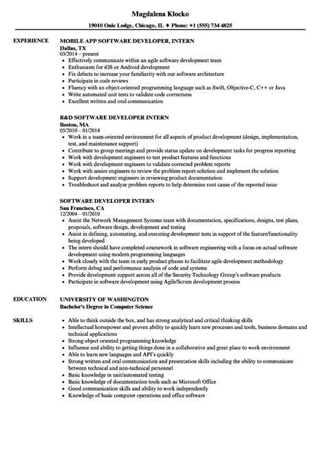 software developer intern resume sles velvet