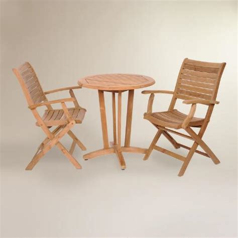 Teak Outdoor Armchairs by Tanjun Teak Outdoor Bistro Set With Folding Armchairs