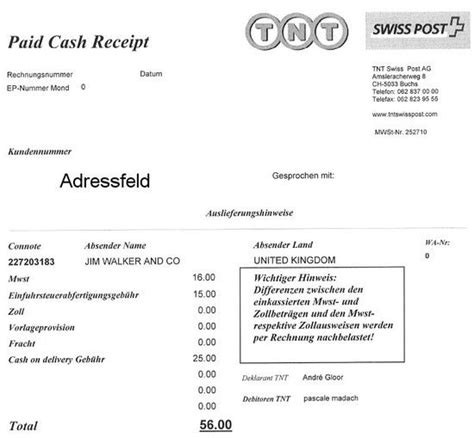 Rechnung Schweiz Hinweis Einkauf Im Ausland Versand In Die Schweiz Verzollungsgeb 252 Hr Schweiz