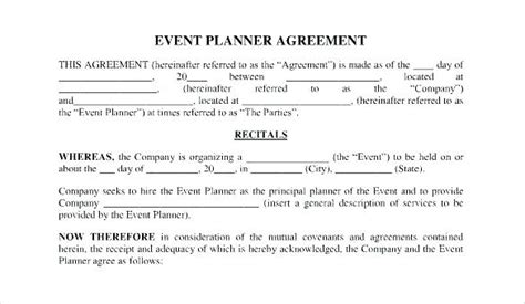 Event Planner Contracts Contract For Event Planning Services Event Planner Contract Sle Sle Wedding Planner Contract Template