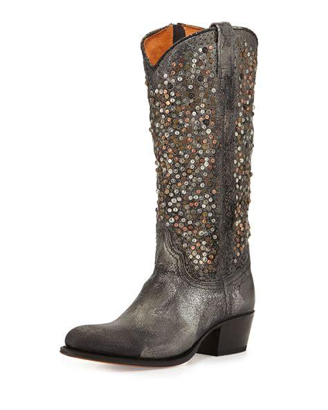 frye studded boots frye deborah studded vintage leather boot in brown lyst