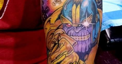 traditional thanos infinity gauntlet nerd tattoo by steve