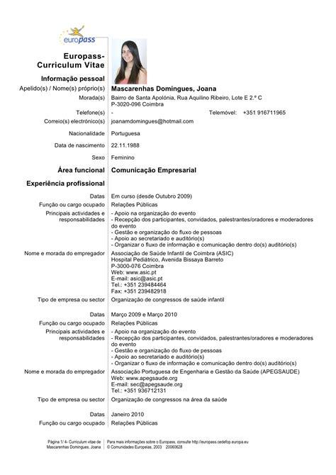 Modelo De Curriculum Europeo Europass Europass Curriculum Vitae Portugal Order Paper