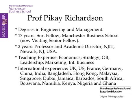Manchester Mba Singapore by Visionary Leadership Pikay Richardson Manchester