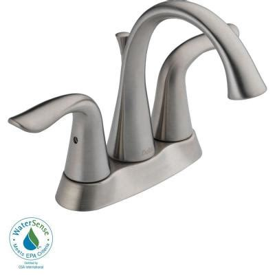Lahara Faucet delta lahara 4 in centerset 2 handle high arc bathroom faucet in stainless with metal pop up