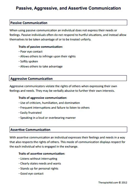Communication Styles Worksheet by Passive Aggressive And Assertive Communication Preview