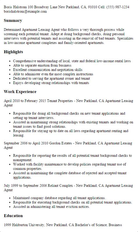leasing agent resume sample leasing agent resume entry level