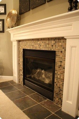 simple slate mosaic fireplace surround for the home