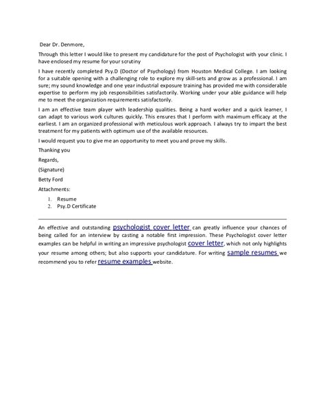 Experimental Psychologist Cover Letter by Psychologist Cover Letter