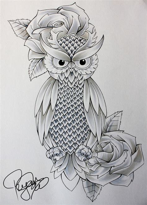 owl and rose tattoo designs tattoo collection