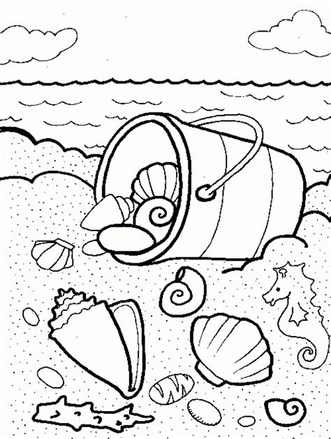 hard beach coloring pages collecting beautiful seashell on the beach colouring pages