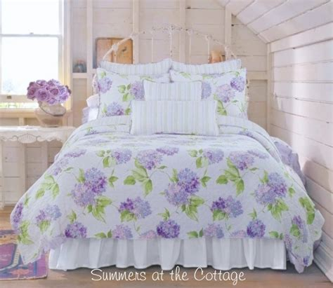 periwinkle cottage pink lavender purple hydrangea flowers shabby beach chic bedding queen or king