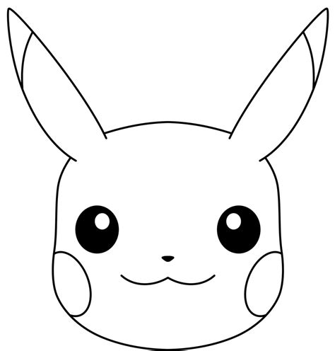 pikachu face coloring pages pikachu s face line art by ryanthescooterguy on deviantart