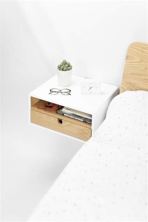 Floating Nightstand With Drawer by White Floating Nightstand Bedside Table Drawer In Solid
