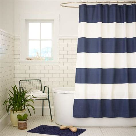 blue and white stripe curtains blue and white wide stripe shower curtain