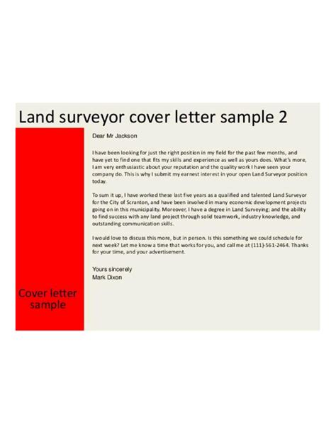 basic land surveyor cover letter sles and templates