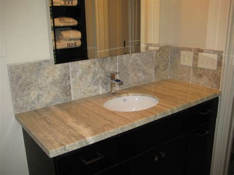travertine bathroom countertops vanity silver travertine traditional bathroom new