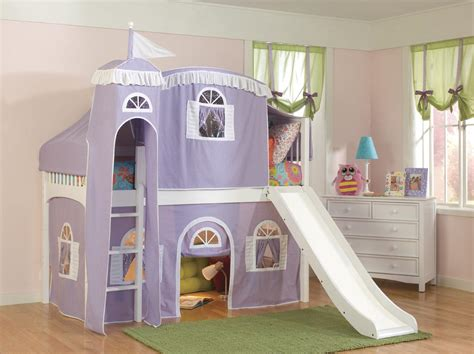 girls loft bed with slide loft bed for little girls with slide and light purple tent