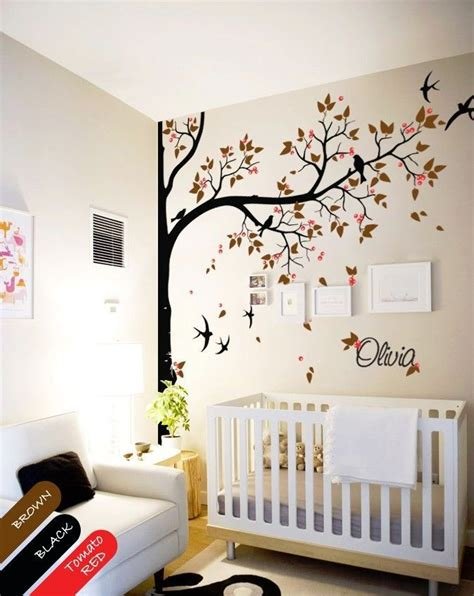 wall mural for baby room nursery wall decal tree swallows and baby name baby room decor mural kr065 2 decals