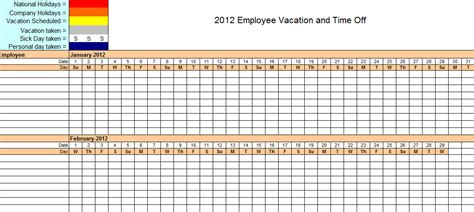 Yearly Calendar Template 2012 Excel 2012 employee vacation tracking calendar template