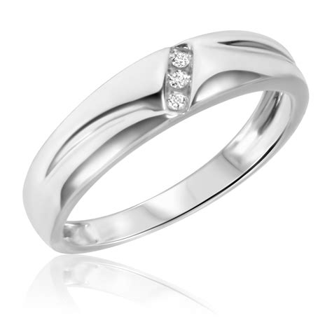 1 10 carat t w his and hers wedding band set 14k