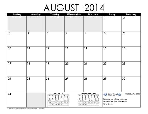 printable monthly calendar august 2014 2014 calendar templates and images monthly and yearly