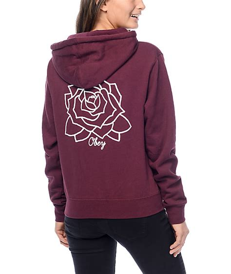 Hodie Vina obey mira mosa burgundy hoodie at zumiez pdp