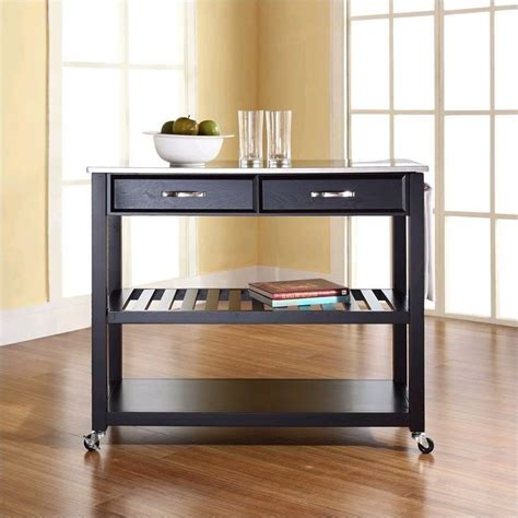 stainless steel top kitchen cart island in black finish crosley kitchen cart island stainless steel top in black