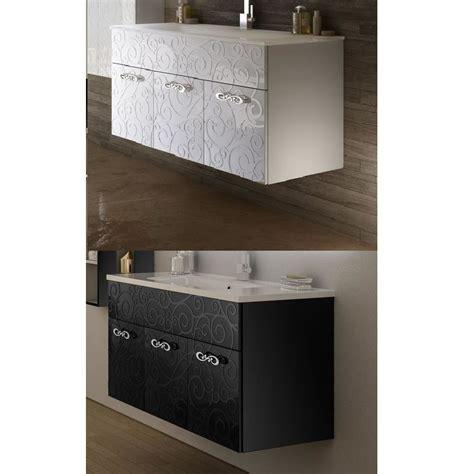 mobili arredo mobile arredo da bagno milos sospeso 100 cm bianco nero