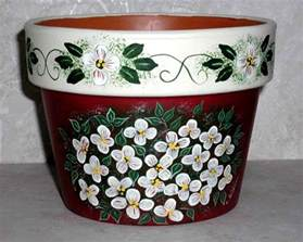 Pot Designs by Clay Pots Yard And Garden Handpainted Lee Wismer