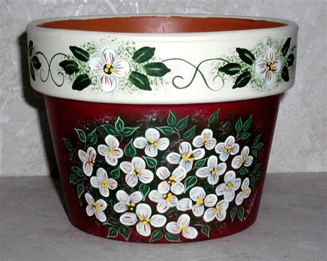 clay pots yard and garden handpainted lee wismer decorative painting